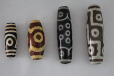 4 Dzi  beads -  Tibet -  late 20th century