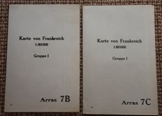 2 German field/Relief maps of Arras - Northern France