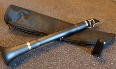 Black resin clarinet with cover, clarinet mouthpiece and recorder fingering