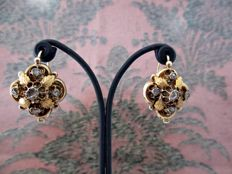 Antique earrings from the 19th century made of 18 kt Gold // Antique cut Diamonds ***NO RESERVE PRICE***