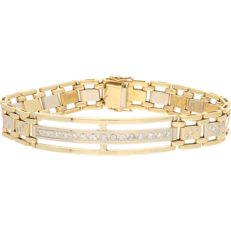 18 kt bi-colour link bracelet set with diamonds of approx. 1.21 ct in total – Length: