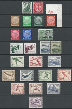 German Reich 1934/1936 – Selection – Michel 538x, 544/545, 548/553, 584/585y, 600/602, 606/607, 609/616