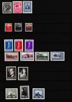 Liechtstenstein 1932–4 – Lot of complete series – Yvert No. 108–110, 111–113 , 114–116, 118–121, 288–290, 294–2955.