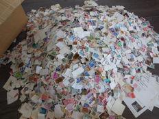 World – Batch of approx. 60,000 soaked stamps, various countries.