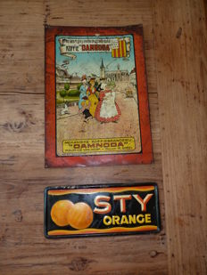 Two tin advertising signs - Damnoda coffee - 1938 - STY Orange - 1937-1947.