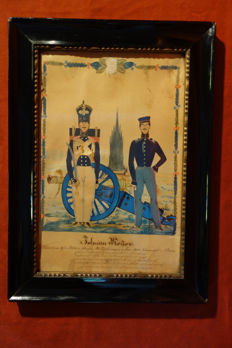 Watercolour of gunners, 8th Artillery brigade, 3rd Foot Berlin company, 1840 - Germany