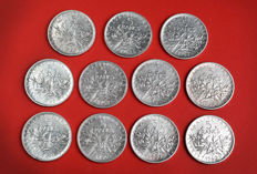 France - 5 Francs 1960/1965 'Semeuse' (lot of 11 coins) - Silver