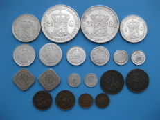 The Netherlands – ½ cent up to and including 2½ guilder 1848/1941 Willem II,  Willem III and Wilhelmina (20 pieces) including silver