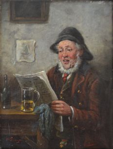 "Unknown (20th Century European School ) -  ""The Man Reading the Newspaper"""