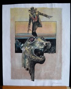 Toppi, Sergio - watercolour on print