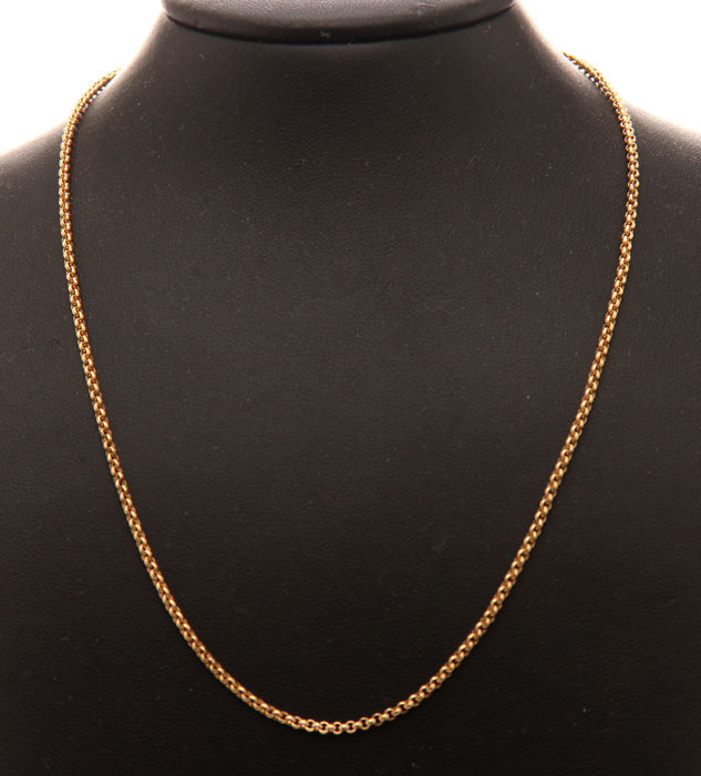 18 kt Yellow gold rolo link necklace, length: 41 cm