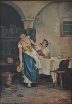 "Unknown (19th/20th Century European School) -  ""A  man with too much to drink grabbing the waitress"""