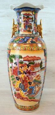 Richly decorated polychromed vase 62 cm - China - 2nd half 20th century