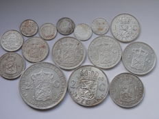 Netherlands - 10 cents up to and including 2½ gulden 1897/1960 (15 pieces) - silver