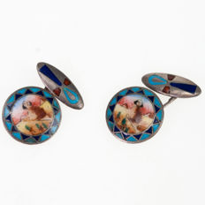 Egyptian revival  enamel  in silver  cuff links,  Art Deco (1915-1935).