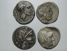 Roman Republic - Lot of 4 AR Denarii. Rome mint