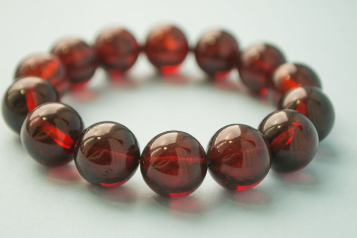 Baltic Amber bracelet, cognac color, 35 gram, diameter of bracelet: 58 mm