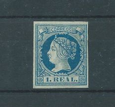 Spain 1860 – Isabel II, 1 real, blue – Edifil No. 55