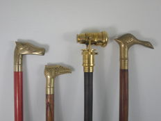 Lot of 4 canes - brass handle
