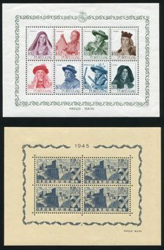 Portugal 1945/49 -  Selection of 4 minisheets - Michel Block 8, 10,  13, 14