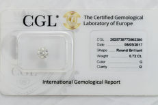 0.72  ct brilliant cut diamond  G  I2  ** No Reserve Prices **