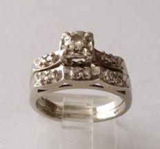 14kt White Gold Diamond Bridal Ring Set
