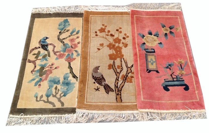 Three Fine Quality Pictorial Hand Knotted Silk on Silk Chinese Carpet Area Rug 64 cm x 34 cm