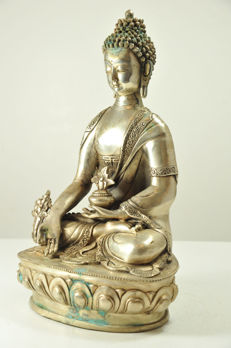 Silver-plated Bronze Medicine Buddha - China - late 20th century