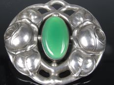 """ DKS "" antique brooch Pforzheim silver chrysoprase Art Nouveau"