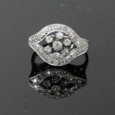 Vintage, white gold, 1950s cocktail ring with 0.81 ct Diamonds.
