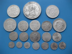 The Netherlands – 5 cents up to and including 2½ guilder 1847/1943 Willem II, Willem III and Wilhelmina (20 pieces) – silver