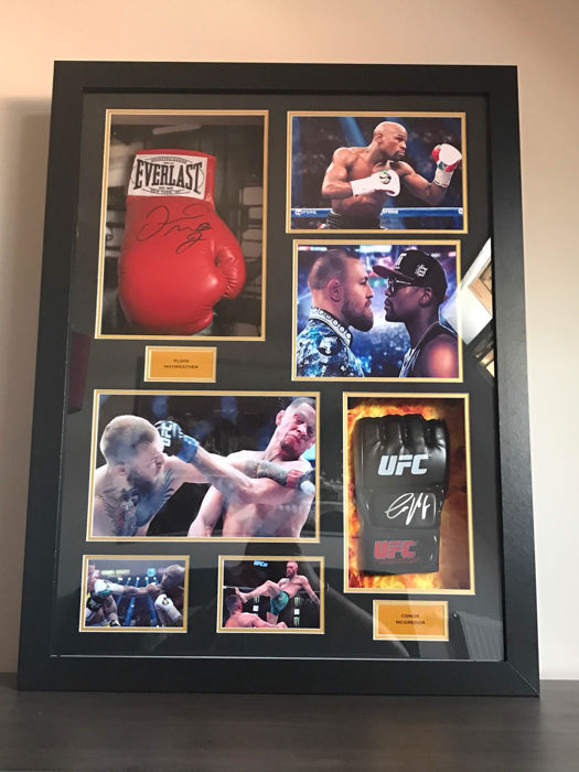 Conor Mcgregor & Ffloyd Mayweather framed boxing gloves with photo evidence and certificate of authenticity