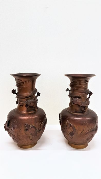 Two Chinese Copper Vases With Dragons In Relief China Mid 20th