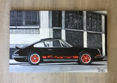 Porsche 911 Carrera 2.7 RS painting - 90 x 57 x 3 cm
