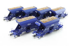 Roco H0 - 47003/47004/47005/46300/45938 - 6 self-discharging wagons of the NS