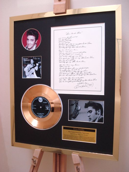 "Elvis Presley Blue Suede Shoes Gold Disc 7"" record + original handwritten lyrics display"
