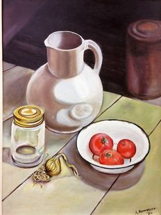 A. Nummerdor (20th century) -  Stilleven: On a kitchen table