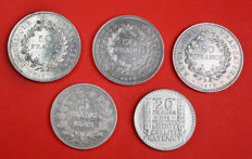 France – Lot of 5 coins 1842-1977 – Silver.