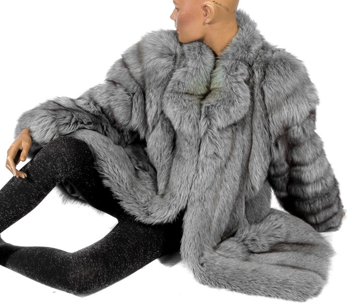 Luxurious dyed grey Arctic fox fur coat
