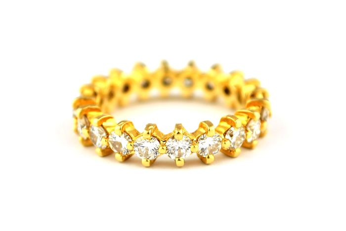 20 Diamond (Tot +/- 2.00ct HI/VS-SI) Set on 18k Yellow Gold Full-Alliance Engagement/Wedding Ring - E.U Size 58