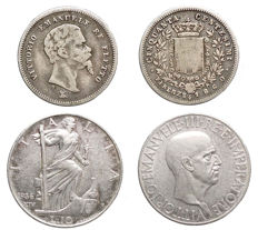 "Kingdom of Italy – 50 Cents 1860 Florence; 10 Lire 1936 ""Impero"" (2 specimens) – Silver"