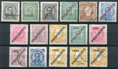 Portugal 1892/93 - Selection 'Provisorio' overprints - between Yvert 78 and 95