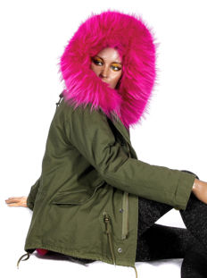 2 in 1 parka with removable synthetic fur and genuine fur collar