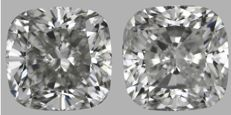 Pair of Square Cushion Modified Brilliant  2.02ct total.   G SI2   IGI #2044-2045 -original image -10x