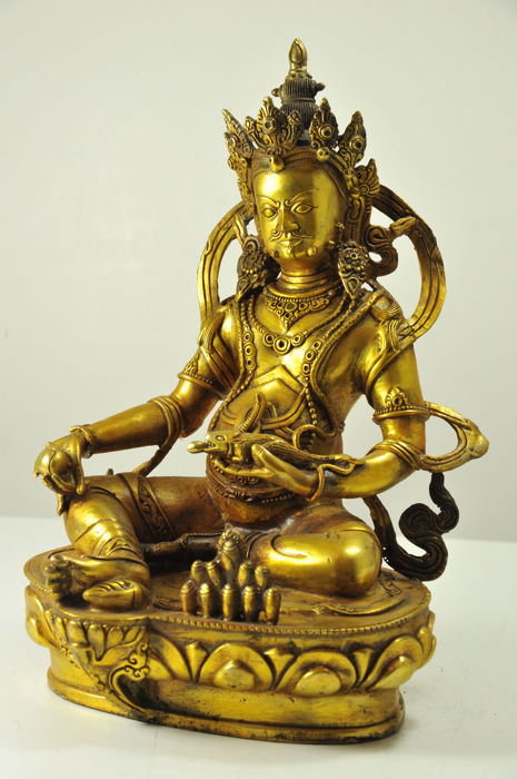 Giant yellow Jambhala in bronze - Sino Tibet - Late 20th century