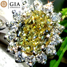 Untreated 1.40 Ct Natural Fancy Yellow Diamond Solitaire Engagement Ring in 18 kt white gold – GIA Cert - No Reserve