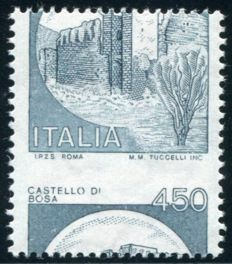 Italy 1980 -  Perforation + color error Castello Ardesia – Bolaffi 1626B