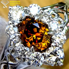 18k Gold Diamond Solitaire Ring - 1.01ct - size 6.5 Natural UNTREATED FANCY ORANGE  - IGI Certified - No Reserve