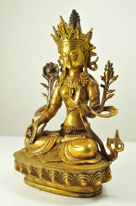 White Tara - goldplated Bronze Tibet - late 20th Century