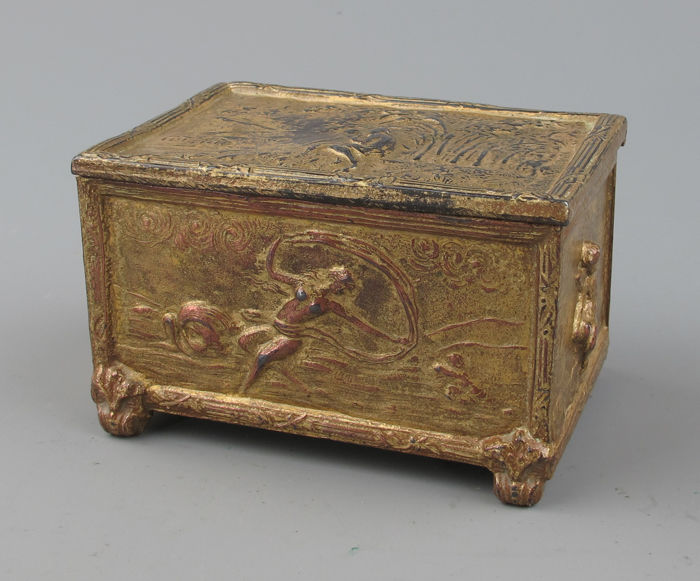 A small gilded lead box with romantic scenes - France - ca. 1880